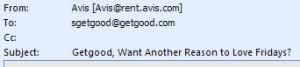 Email Header from Avis Promo