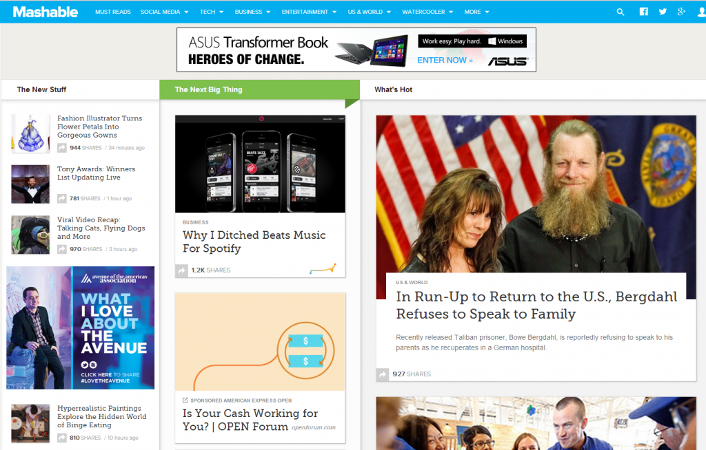 Mashable Screen Shot for content post